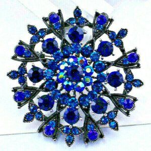 Deep BLUES Mandala Wheel Flower Rhinestone Brooch
